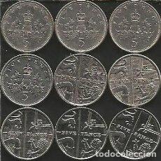 Monedas antiguas de Europa: REINO UNIDO (VER AÑOS EN DESCRIPCION) - 5 PENCE - KM VARIOS - LOTE 9 MONEDAS CIRCULADAS. Lote 161478474