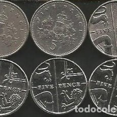 Monedas antiguas de Europa: REINO UNIDO (VER AÑOS EN DESCRIPCION) - 5 PENCE - KM VARIOS - LOTE 6 MONEDAS CIRCULADAS. Lote 161478782