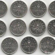 Monedas antiguas de Europa: REINO UNIDO 1997 A 2007 - 5 PENCE - KM VARIOS - LOTE 11 MONEDAS CIRCULADAS. Lote 161479578