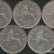 Monedas antiguas de Europa: REINO UNIDO (VER AÑOS EN DESCRIPCION) - 10 PENCE - KM 912 - LOTE 5 MONEDAS CIRCULADAS. Lote 161482806