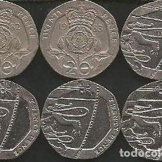 Monedas antiguas de Europa: REINO UNIDO (VER AÑOS EN DESCRIPCION) - 20 PENCE - KM VARIOS - LOTE 6 MONEDAS CIRCULADAS. Lote 161489438