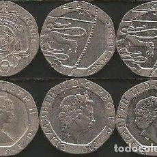 Monedas antiguas de Europa: REINO UNIDO (VER AÑOS EN DESCRIPCION) - 20 PENCE - KM VARIOS - LOTE 3 MONEDAS CIRCULADAS. Lote 161490162