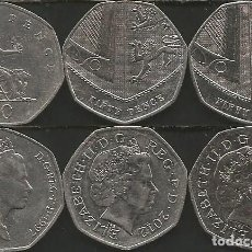 Monedas antiguas de Europa: REINO UNIDO (VER AÑOS EN DESCRIPCION) - 50 PENCE - KM VARIOS - LOTE 3 MONEDAS CIRCULADAS. Lote 161492598