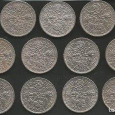 Monedas antiguas de Europa: REINO UNIDO (VER AÑOS EN DESCRIPCION) - 6 PENCE - KM 903 - LOTE DE 13 MONEDAS CIRCULADAS. Lote 161510666