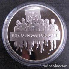 Monedas antiguas de Europa: BONITA MONEDA DE 20 EUROS EN PLATA A LOS 100 AÑOS DEL DERECHO AL VOTO DE LA MUJER. Lote 183879000