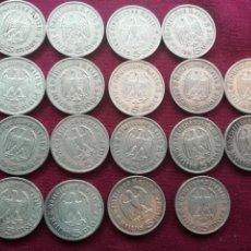 Monedas antiguas de Europa: ALEMANIA NAZI. LOTE DE 18 MONEDAS DE 5 MARCOS DE PLATA. Lote 163572738