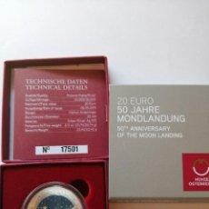 Monedas antiguas de Europa: 20 EUROS PLATA AUSTRIA 2019 PROOF 50 ANIVERSARIO ALUNIZAJE MONDLANDUNG 50 JAHRE PROOF. Lote 164068338