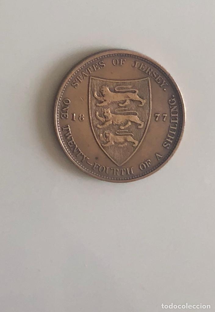 Monedas antiguas de Europa: 1/24 Shilling Victoriano Jersey 1877 - Foto 2 - 164308238