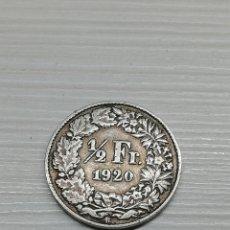 Monedas antiguas de Europa: MONEDA SUIZA 1 /2 FRANCO AÑO 1920..PLATA 0,835.. CONFEDERACIÓN HELVÉTICA.. KM # 23.... Lote 164808972