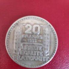Monedas antiguas de Europa: FRANCIA -PLATA- 20 FRANCOS DE TURIN AÑO 1933 (3ª REPUBLICA) 20 GRAMOS-HOJAS LARGAS-. Lote 176912450