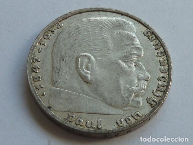 MONEDA DE PLATA 2 MARCOS 1939 CECA A DE BERLIN ALEMANIA NAZI, MARISCAL PAUL VON HINDENBURG (Numismática - Extranjeras - Europa)