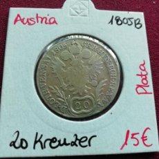 Monedas antiguas de Europa: AUSTRIA. 20 KREUZER DE PLATA DE 1805. Lote 165748210