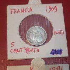 Monedas antiguas de Europa: FRANCIA 1881 Y 1909 5 CENTRO PLATA. Lote 165768370