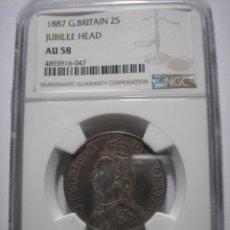 Monedas antiguas de Europa: SBB87 GRAN BRETAÑA VICTORIA 1887 FLORIN DE PLATA NGC AU58. Lote 166048434
