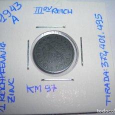 Monedas antiguas de Europa: MONEDA DE 1 REICHPFENNIG DE 1943 A. III REICH (MBC). ENCARTONADA.. Lote 179179157