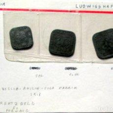 Monedas antiguas de Europa: ALEMANIA -3 DE-LUDWISHAFEN -BADISCHE ANILIN SODA FABRIK-1918- RARAS. Lote 170158192
