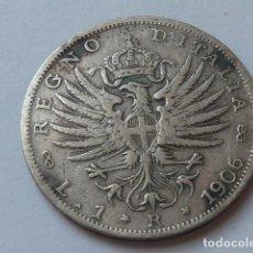 Monedas antiguas de Europa: MONEDA DE PLATA DE 1 LIRA DE 1906 DE ITALIA, MODELO AGUILA IMPERIAL, VITTORIO EMANUELE III, ESCASA. Lote 171260357