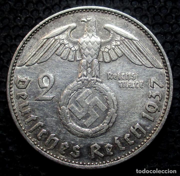 ALEMANIA - III REICH 2 REICHSMARK 1937-E (DRESDEN) -PLATA- (Numismática - Extranjeras - Europa)