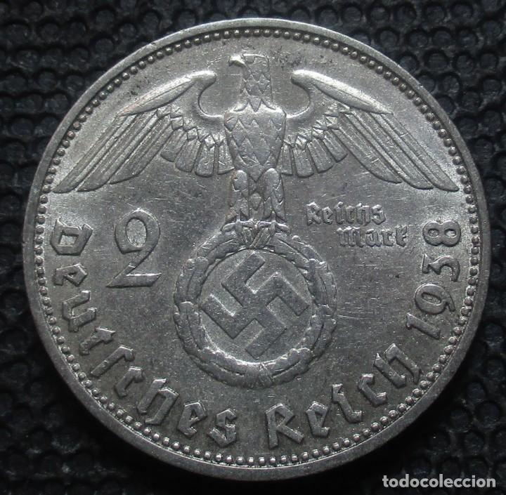 ALEMANIA - III REICH 2 REICHSMARK 1938-D (MUNICH) -PLATA- (Numismática - Extranjeras - Europa)