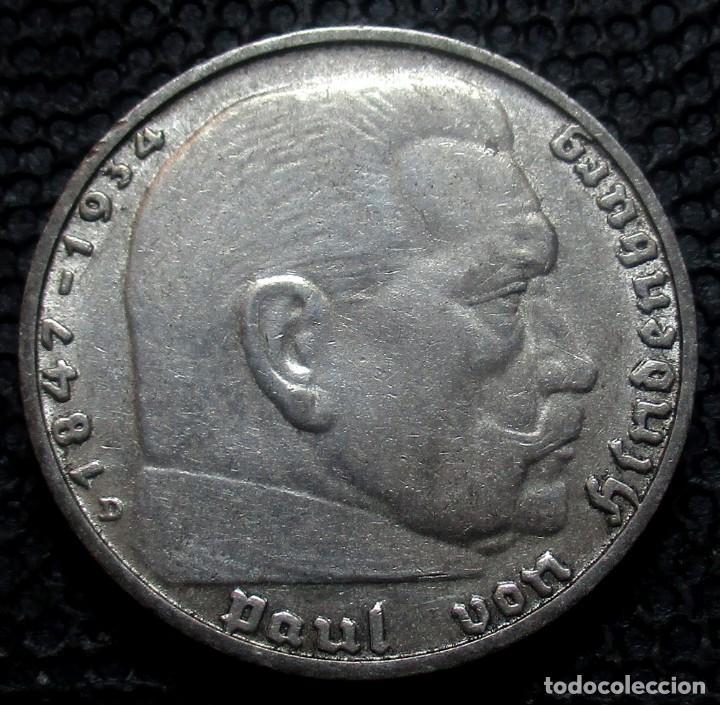 Monedas antiguas de Europa: ALEMANIA - III REICH 2 REICHSMARK 1938-D (MUNICH) -PLATA- - Foto 2 - 171359707
