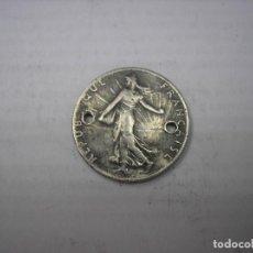 Monedas antiguas de Europa: FRANCIA 1/2 FRANCO DE PLATA DE 1918.TIENE DOS TALADROS. Lote 172095612