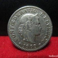 Monedas antiguas de Europa: 20 RAPPEN 1909 SUIZA. Lote 172229622