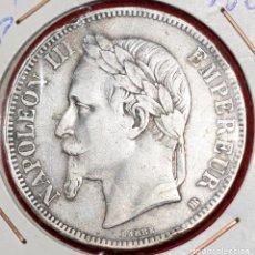 Monedas antiguas de Europa: 5 FRANCOS 1868 EMPERADOR NAPOLEON III PLATA SILVER. Lote 173885489