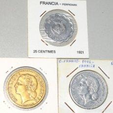 Monedas antiguas de Europa: FRANCIA 3 MONEDAS: 5 FRANCOS 1956 (2) - 25 CÉNTIMOS PERPIGNAN 1921 CÁMARA SINDICAL DE COMERCIANTES. Lote 173943958
