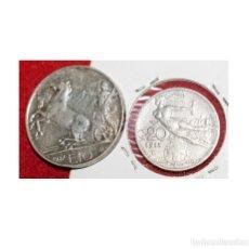 Monedas antiguas de Europa: 2 MONEDAS ITALIA, 10 LIRAS 1927 PLATA - 20 CÉNTIMOS 1913. Lote 173942388