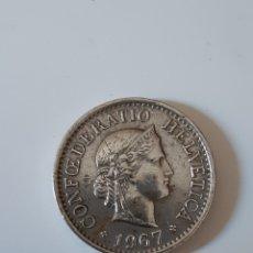 Monedas antiguas de Europa: MONEDA SUIZA - 10 RAPPEN 1967. Lote 174493534