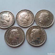 Monedas antiguas de Europa: LOTE 5 MONEDAS SUIZA - 20 RAPPEN. Lote 174952938