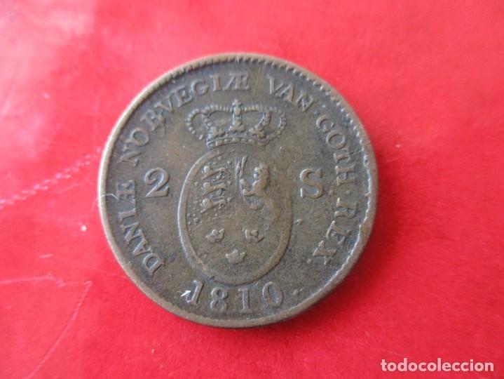 Monedas antiguas de Europa: Dinamarca. 2 shilling de Federico VI. 1810 - Foto 2 - 175452517