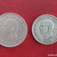 Monedas antiguas de Europa: GRECIA: LOTE DE 2 MONEDAS DE 10 Y 20 DRACMAS DEL REY PABLO (LA DE 20 DRACMAS ES DE PLATA). Lote 175874424