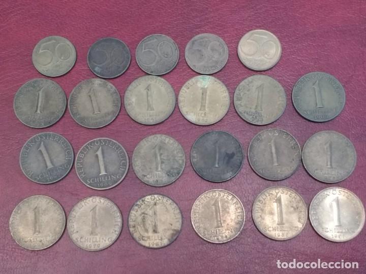AUSTRIA: LOTE DE 23 MONEDAS DE 50 GROSCHEN Y 1 CHELIN (AÑOS 50 A 80) (Numismática - Extranjeras - Europa)