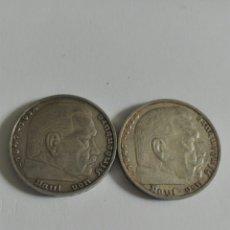 Monedas antiguas de Europa: LOTE 2 MONEDAS ALEMANIA NAZI CINCO MARCOS PLATA 1936 A. Lote 176002915