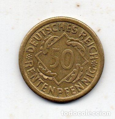 Monedas antiguas de Europa: Alemania. 50 Rentenpfennig. Año 1923 A. Sin Circular . - Foto 2 - 176215445