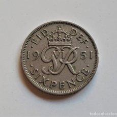 Monedas antiguas de Europa: GRAN BRETAÑA SIXPENCE 1951. Lote 176450293
