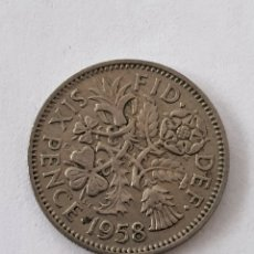 Monedas antiguas de Europa: MONEDA REINO UNIDO 6 PENCE 1958 ELIZABETH II. Lote 176524509