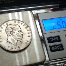 Monedas antiguas de Europa: MONEDA PLATA VICTTORIO EMMANUEL LL 1874. Lote 176609745