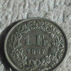 Monedas antiguas de Europa: SUIZA MONEDA DE PLATA 1957 UN FRANCO. Lote 176921772
