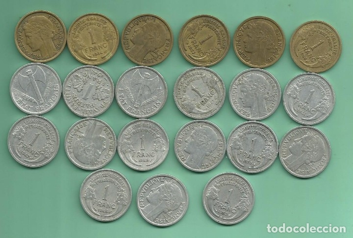 FRANCIA: 21 MONEDAS DE 1 FRANC. DE 1932 A 1959 (Numismática - Extranjeras - Europa)