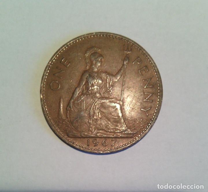 Monedas antiguas de Europa: One Penny Elizabeth II 1967 - Foto 2 - 178884031