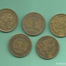 Monedas antiguas de Europa: FRANCIA: 5 MONEDAS DE 1 FRANC. 1921,22,23,24,25. Lote 178961220