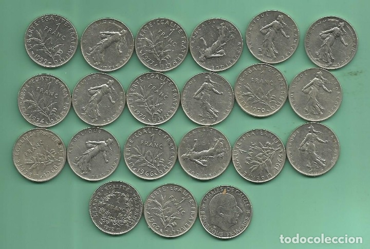 FRANCIA: 21 MONEDAS DE 1 FRANC. DE 1960 A 1999 (Numismática - Extranjeras - Europa)