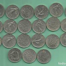 Monedas antiguas de Europa: FRANCIA: 21 MONEDAS DE 1 FRANC. DE 1960 A 1999. Lote 178994136