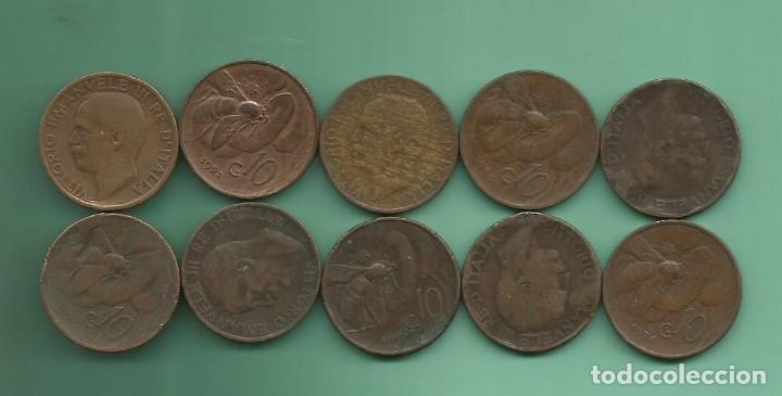 ITALIA: 10 MONEDAS DE 10 CENTESIMI DE 1920 A 1934. 10 FECHAS DIFERENTES (Numismática - Extranjeras - Europa)