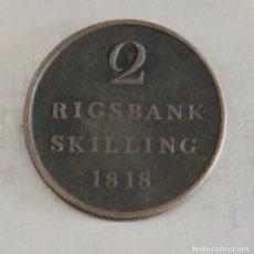 Monedas antiguas de Europa: 2 RIGSBANK SKILLING 1818 DINAMARCA. Lote 179073333
