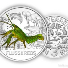 Monedas antiguas de Europa: AUSTRIA 3 EURO 2019 CANGREJO DE RIO - SERIE CRIATURAS FLUSSKREBS. Lote 179180350