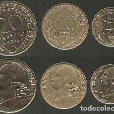 Monedas antiguas de Europa: FRANCIA 1993 - SERIE DE 3 MONEDAS CIRCULADAS (VER DESCRIPCION). Lote 179202091