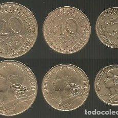 Monedas antiguas de Europa: FRANCIA 1979 - SERIE DE 3 MONEDAS CIRCULADAS (VER DESCRIPCION). Lote 179202167